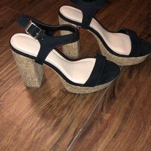 Black platform clog heels